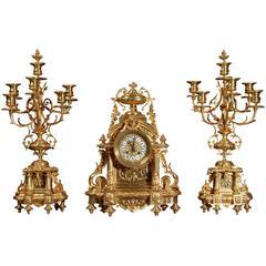 Superb Japy Freres Large Antique French Bronze Clock Set