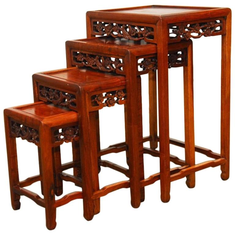 Charmant Nest Of Four Chinese Rosewood Stacking Tables