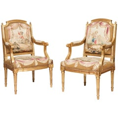 Pair of Louis XVI Period Giltwood and Tapestry Armchairs