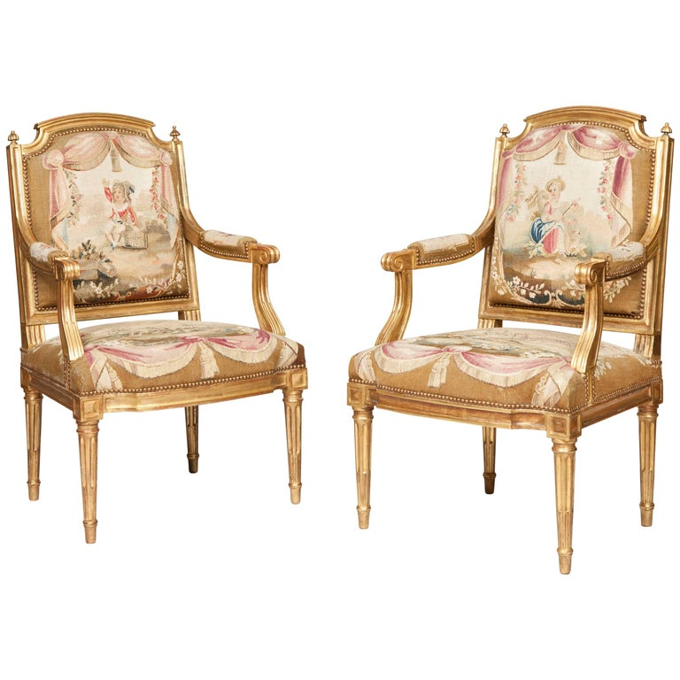 Pair of Louis XVI Period Giltwood and Tapestry Armchairs For Sale