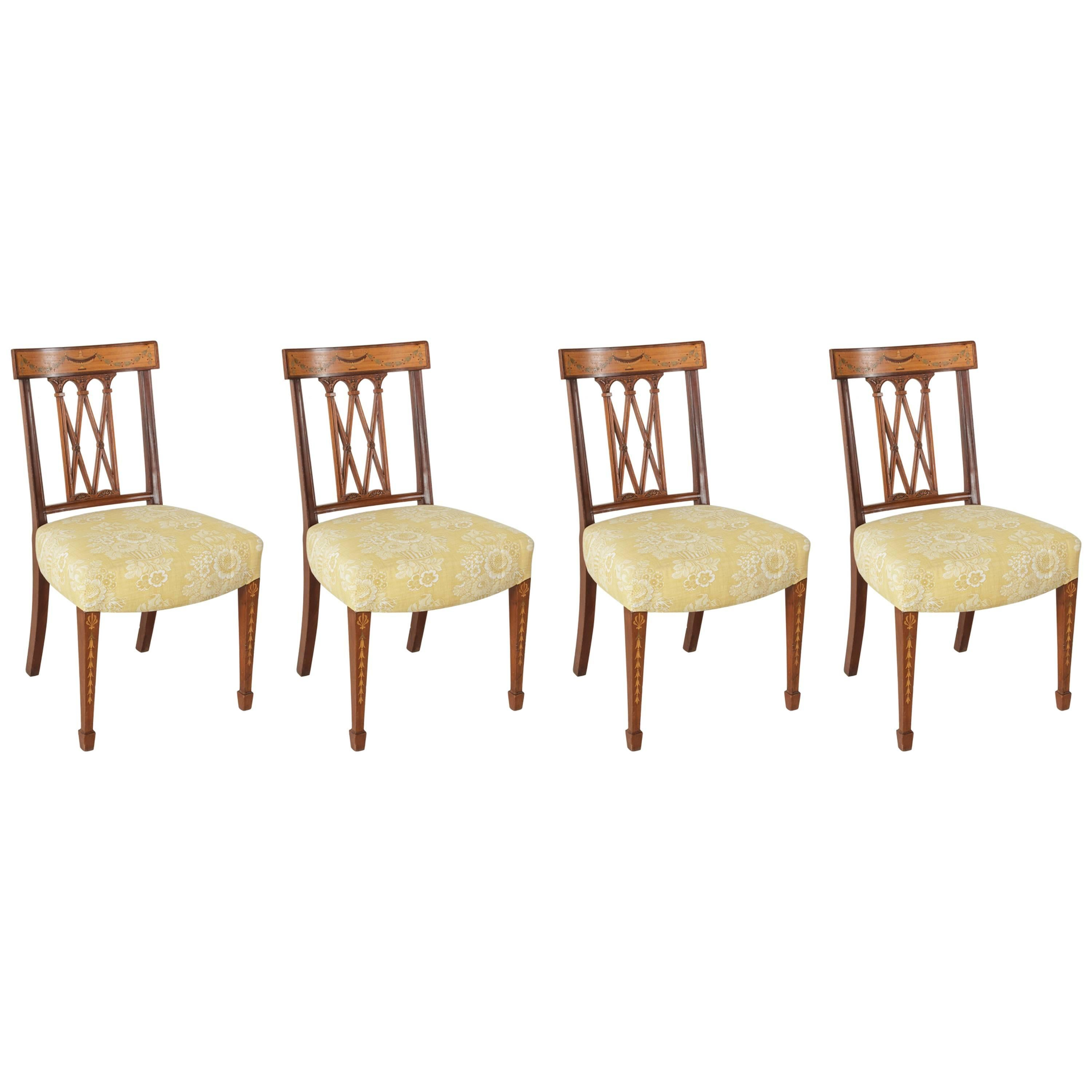 Set of Four 19th Century Italian Marquetry Walnut Side Chairs Dining Chairs