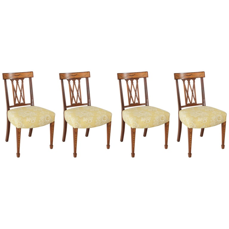 Set of Four 19th Century Italian Marquetry Walnut Side Chairs Dining Chairs For Sale