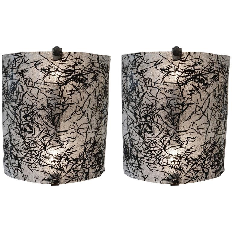 1960s Pair Of Wall Sconces By De Majo Murano With Dynamic Black Gl Design For