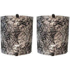 Pair of Wall Sconces by De Majo, Murano in Black and Clear Glass