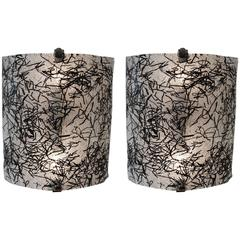 1960s Pair of Wall Sconces by De Majo Murano with Dynamic Black Glass Design