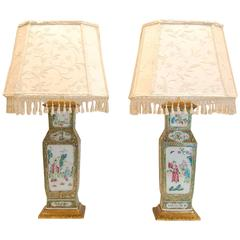 Pair of 19th Century Chinese Urn Lamps with Custom Silk Shades
