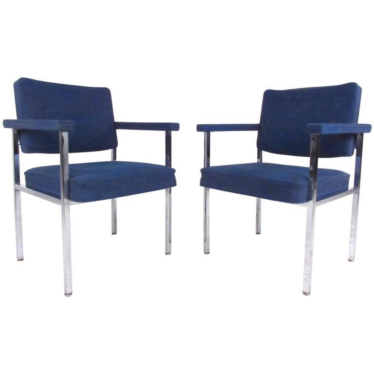 Pair of Mid-Century Modern Chrome Armchairs