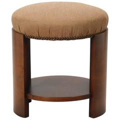 Art Deco Round Upholstered Stool