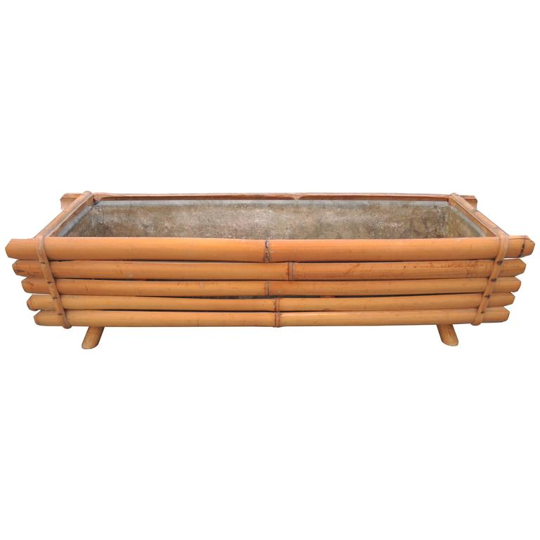 Vintage Mid Century Hip Bamboo Planter with Zinc Liner