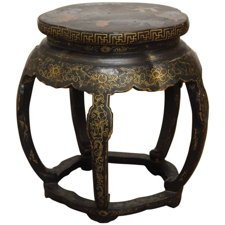 Chinese black lacquer garden stool side table for sale at for Garden stool side table