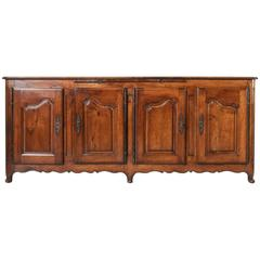 18th Century Louis XV Period French Hand-Carved Walnut Sideboard Enfilade Buffet