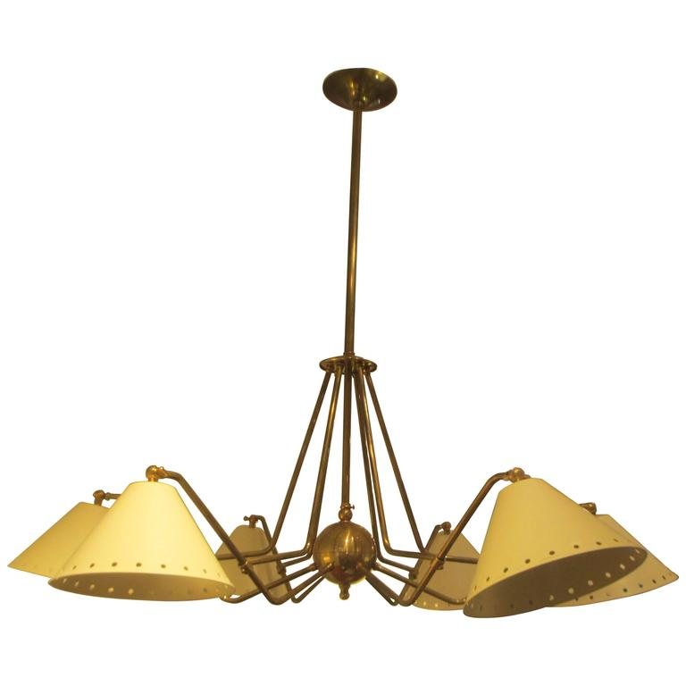 Custom  Six-Light Brass and Tole Fixture in the Mid-Century Manner