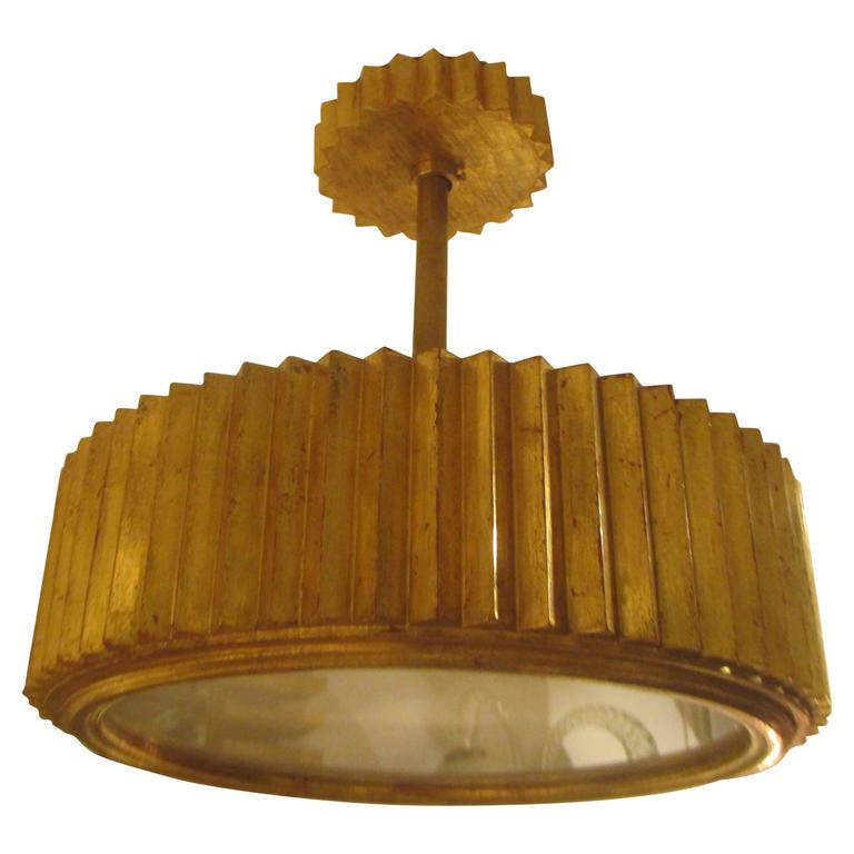 Custom Giltwood Hand-Carved Fixture in the Art Deco Manner