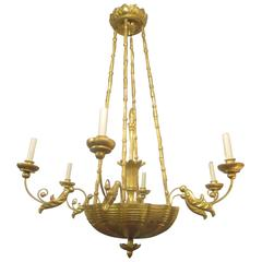 Custom Giltwood Hand-Carved Chandelier in the Neoclassic Manner