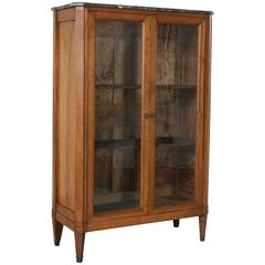 Early 19th Century French Louis XVI Period Walnut Bibliotheque Bookcase Vitrine
