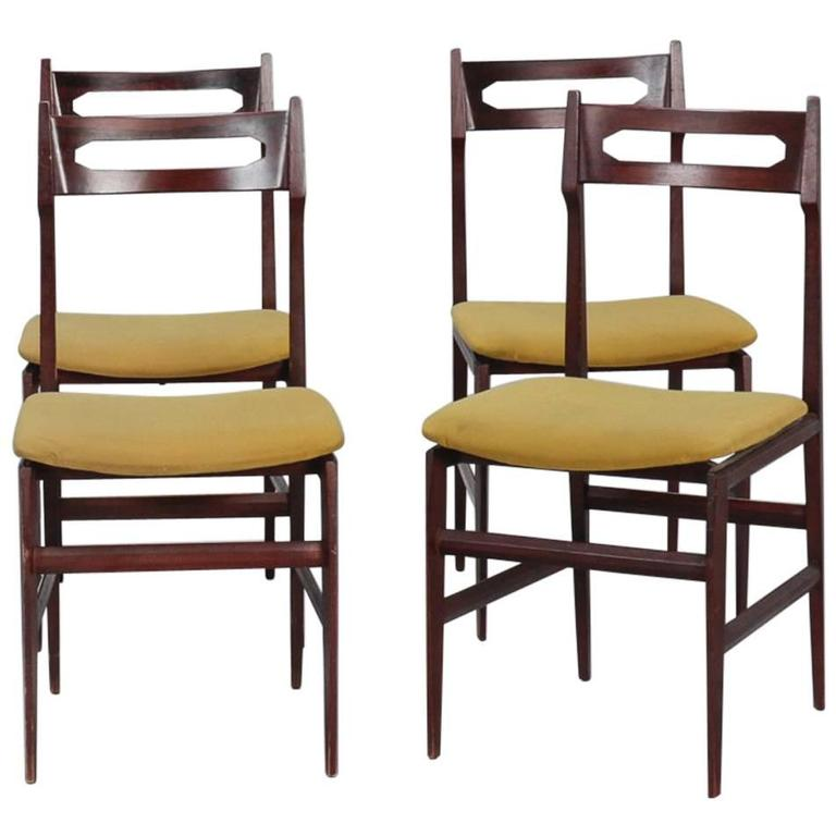 Set Of Four Mid Century Italian Frattini Style Chairs For Sale