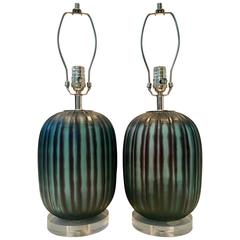 Contemporary Fluted Blown Glass Black and Green Lamps, Pair