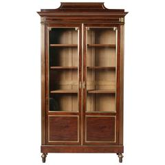 19th Century Louis XVI Style Mahogany and Bronze Bookcase Bibliotheque Vitrine