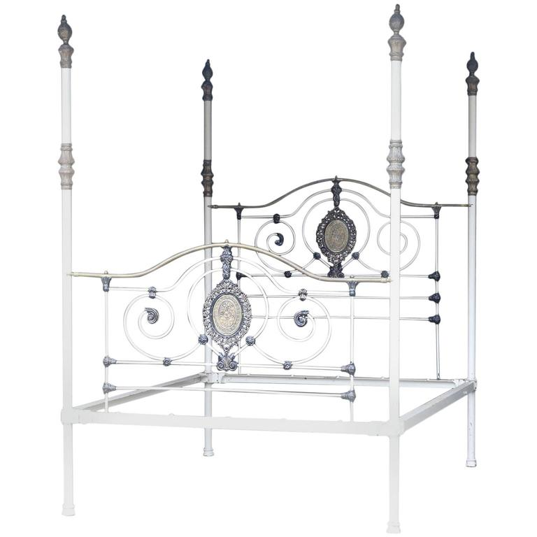 Wide cast iron four poster bed m4p23 for sale at 1stdibs for Wrought iron four poster bed frames