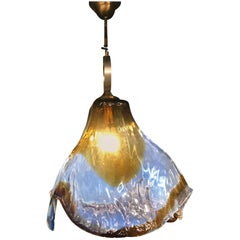 Mid-Century Modern Pendant Light by Mazzega in Murano Opalescent Glass