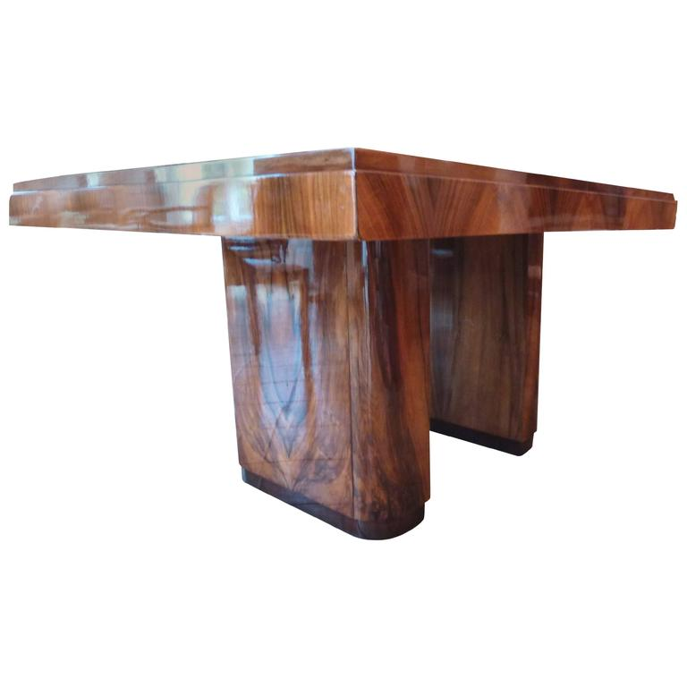 Gorgeous French Art Deco Walnut Veneer Varnished Table