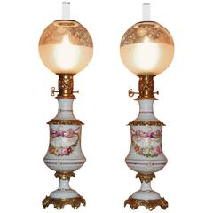 Pair of All Original Porcelain Hand-Painted Floral French Oil Lamps, circa 1850