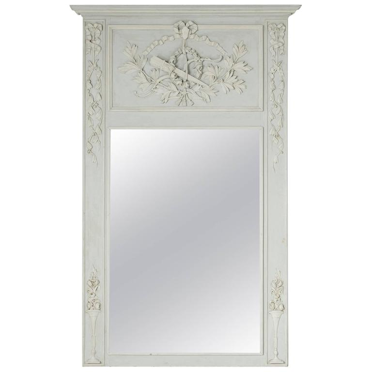 Grand 19th Century Carved and Painted Louis XVI Style Trumeau or Mantel Mirror