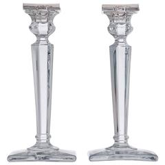 Pair of Art Deco Silver and Glass Candlesticks, Birmingham 1921