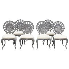 Vintage Brown Jordan Shell Grotto Back Dining Chairs