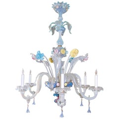 Early 20th Century Italian Venetian Six-Light Chandelier with Floral Sprays