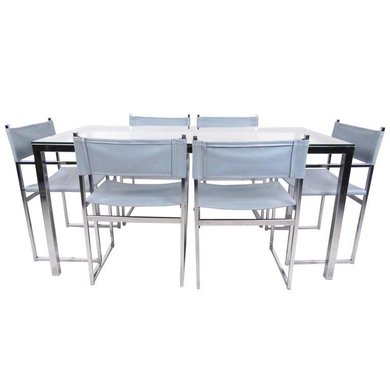 Mid-Century Modern Milo Baughman Style Dining Room Set