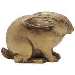 Small Marcel Guillemard Bronze Rabbit Sculpture, circa 1930s, France