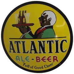 "Original 1930s Porcelain Advertising Sign ""Atlantic Ale Beer"""
