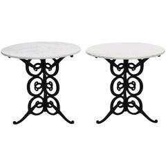 Pair of Vintage Italian Marble Tables with Iron Scroll Bases