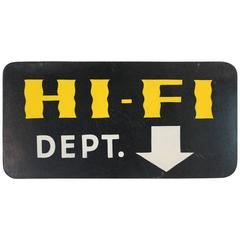 "Hand-Painted ""Hi-Fi"" Sign"