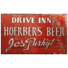 Rare Original 1930s Hoerber's Beer Tin Sign