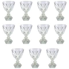 French Baccarat Crystal Harcourt Pattern Wine Glasses, Set of 11