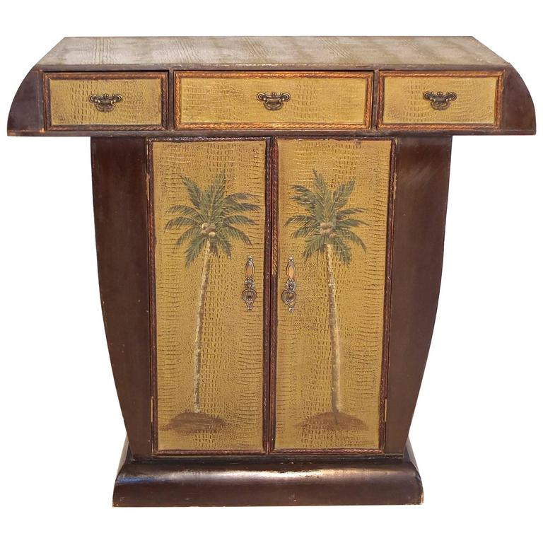 Art Deco Crocodile and Palm Tree Embossed Console Cabinet by Fabergé