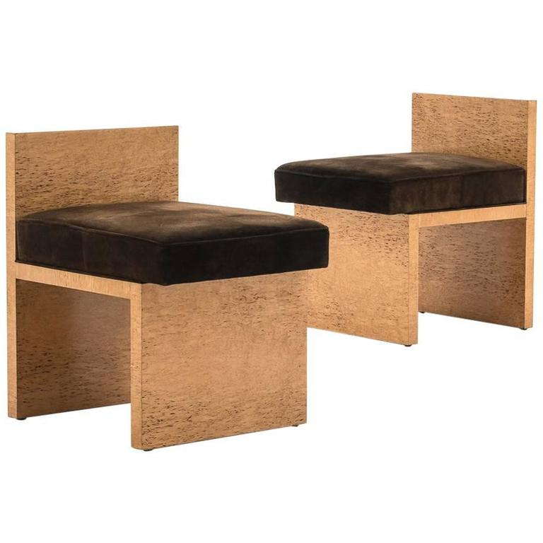 Pair of French Modernist Stools or Chauffeuses