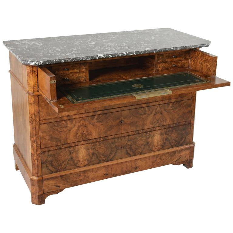French 19th century bookmatched walnut louis philippe chest commode secretary at 1stdibs - Commode secretaire louis philippe ...