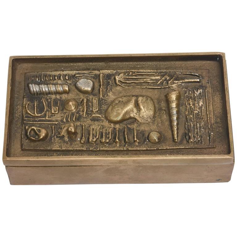 Signed Italian Arnaldo Pomodoro Bronze Sculptural Two-Part Box For Sale