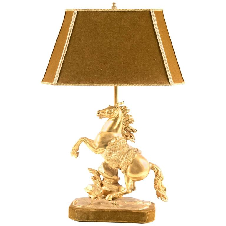 Gilt Bronze Marly Horse Figural Table Lamp 1