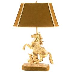 Gilt Bronze Marly Horse Figural Table Lamp