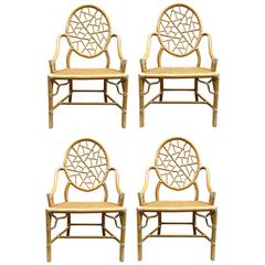 Chic Set of Four of 1970s McGuire Chinoiserie Wrapped Rattan Dining Chairs