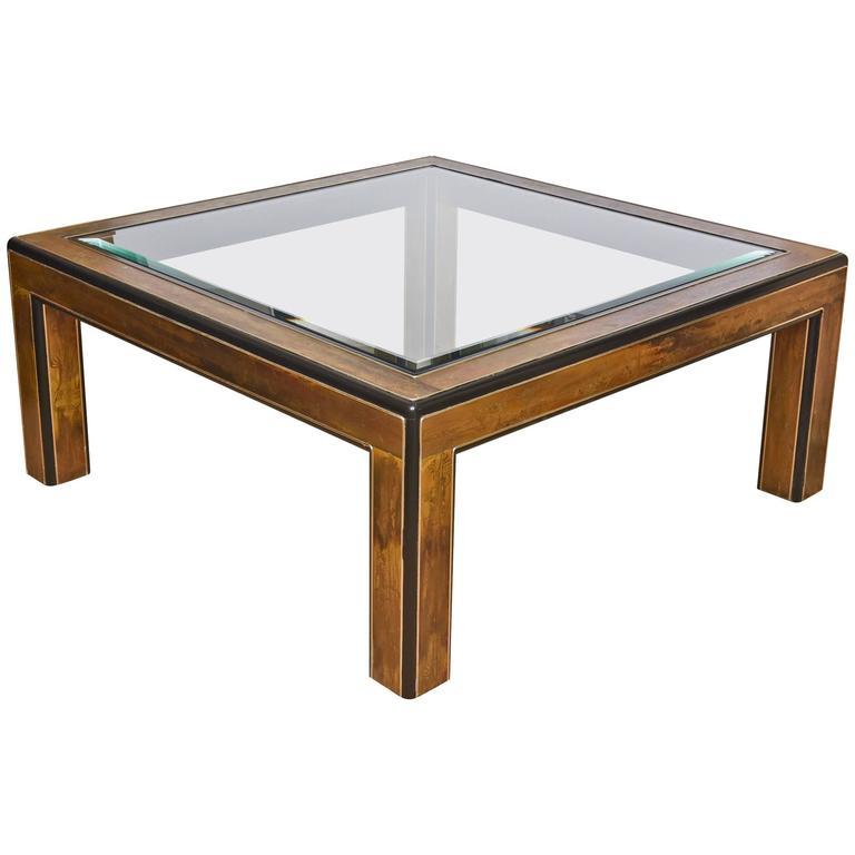 Bernhard Rohne /Mastercraft Acid Etched, Ebonized Wood & Glass Cocktail Table