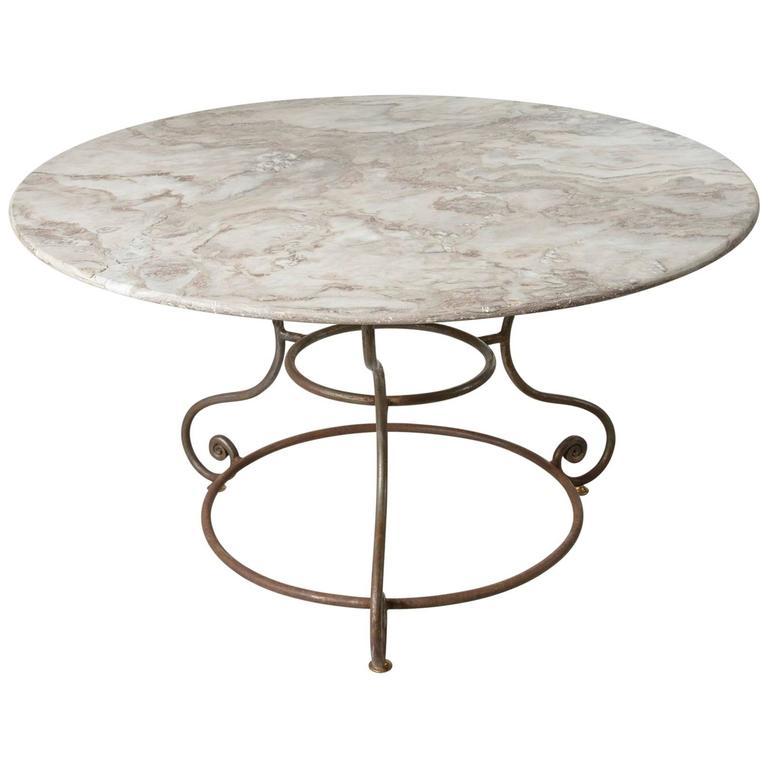 French large round iron base garden table with exceptional for Wrought iron table bases marble top