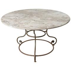 French Large Round Iron Base Garden Table with Exceptional Marble Top