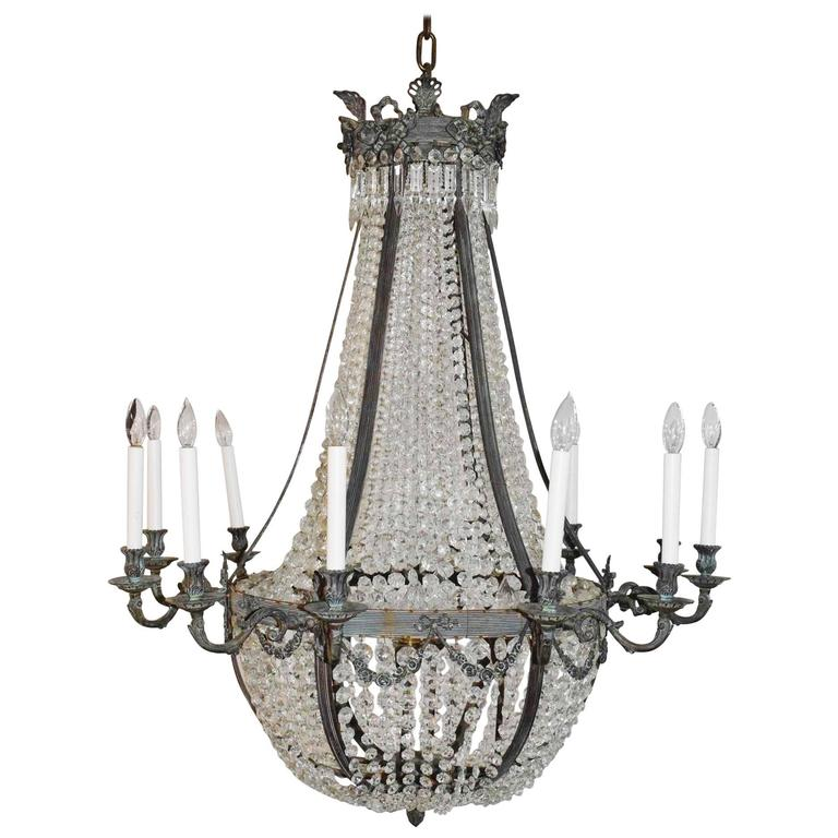 Very Large French Bronze Crystal Chandelier