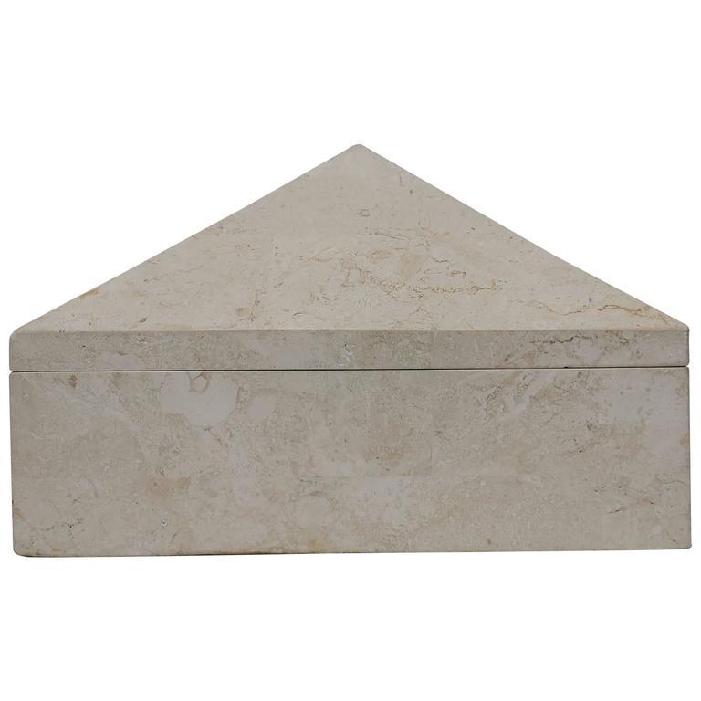 Modern Travertine Marble Pyramid Jewelry Box by Designer Maitland Smith