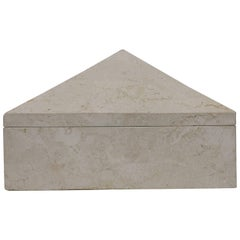 Postmodern Travertine Marble Pyramid Jewelry Box by Designer Maitland Smith